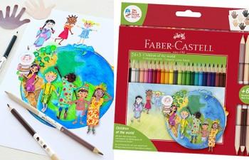 """Niños dibujando diversidad: cuatro estuches de lápices de colores """"Children of the World"""""""